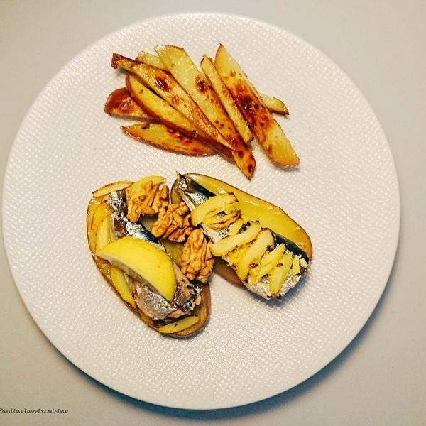 Tartines de sardines  citron gingembre noix et frites